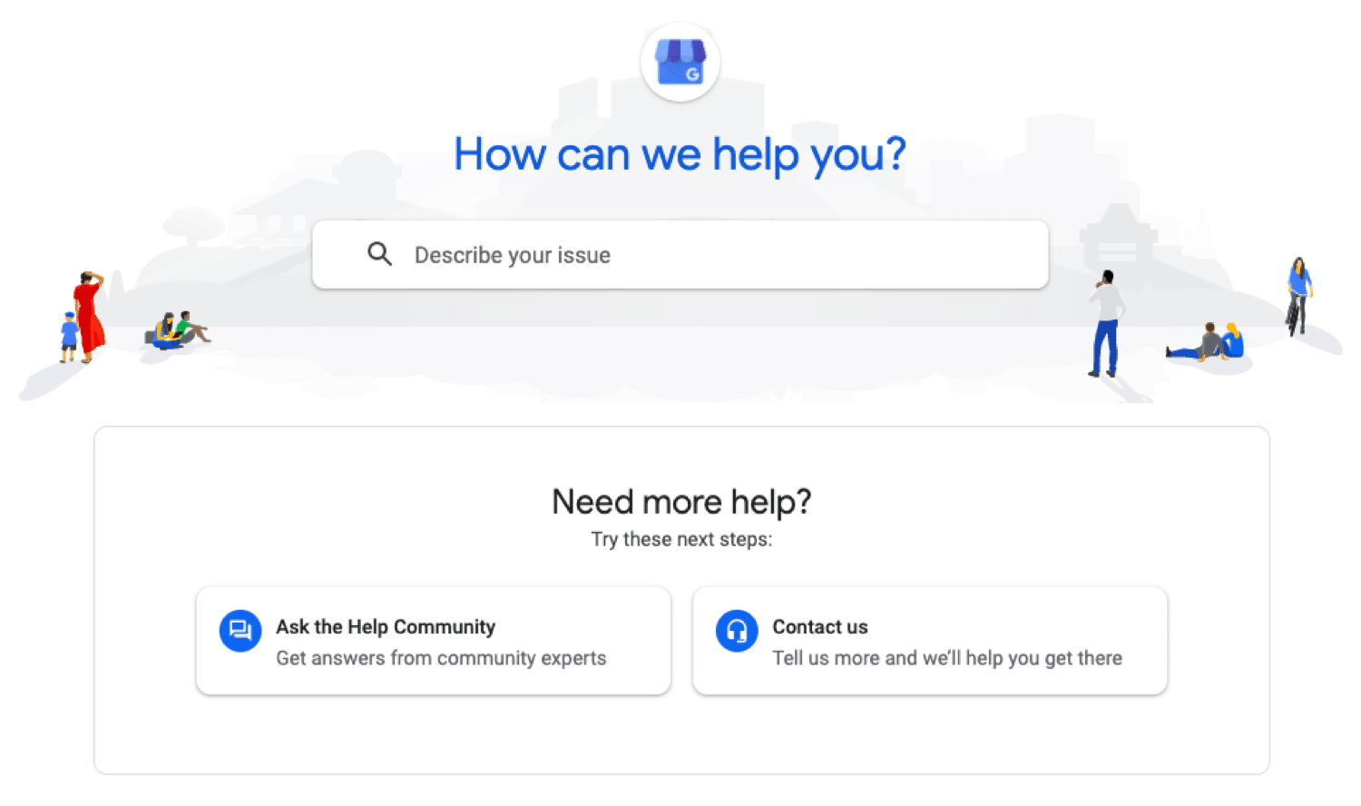 Google My Business support portal for accessing the knowledge base, community and direct support