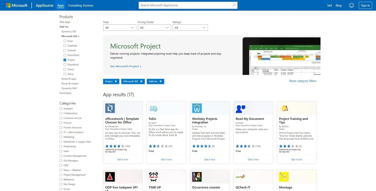 microsoft project apps integrations