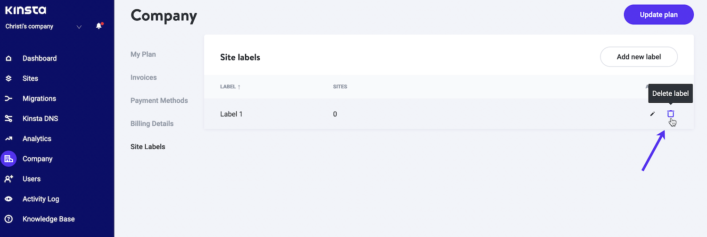 Haz clic en el icono de la papelera (Eliminar etiqueta) para eliminar una etiqueta de sitio