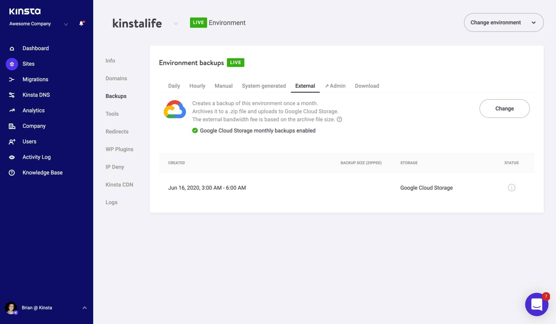 Complemento de copia de seguridad externa de Google Cloud Storage