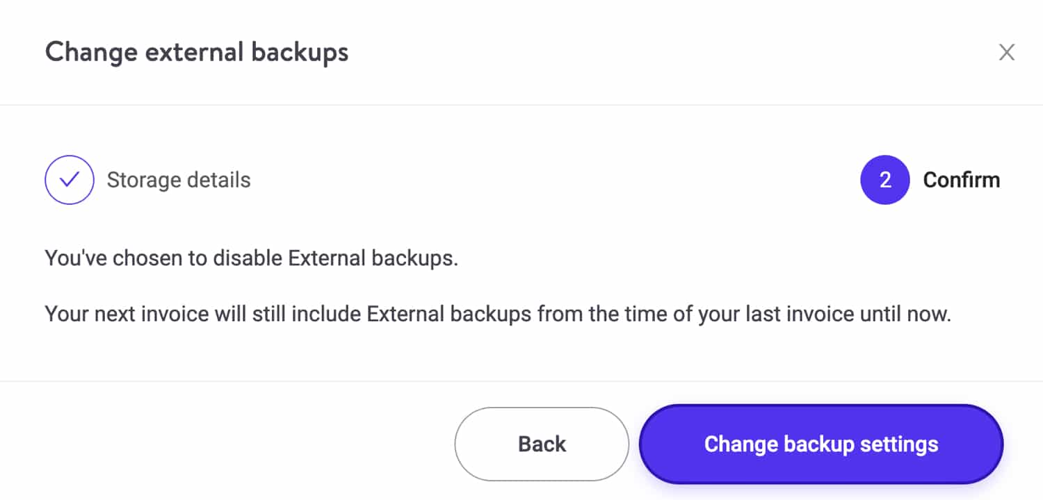 Confirm the removal of the external backup add-on.