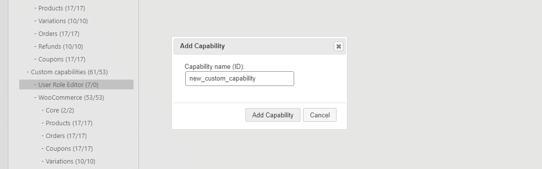 Adding a new capability in User Role Editor