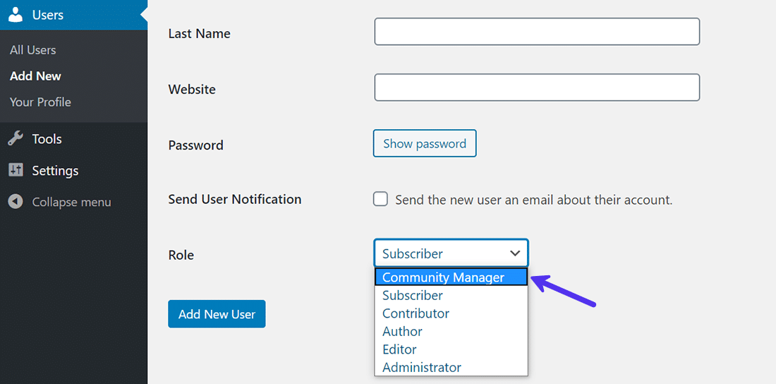 Assigning the custom user role to new users