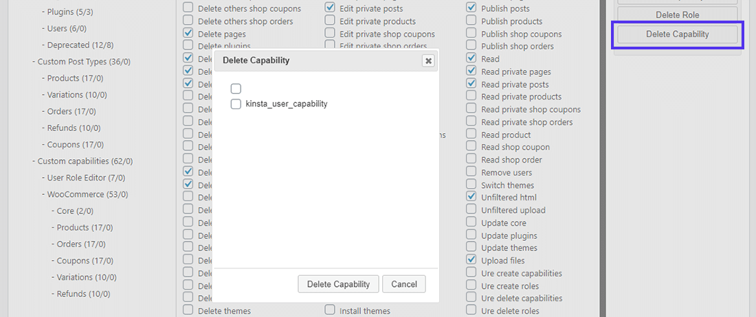 Delete Capability button in User Role Editor