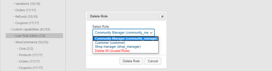 Delete unassigned WordPress user roles easily with User Role Editor plugin