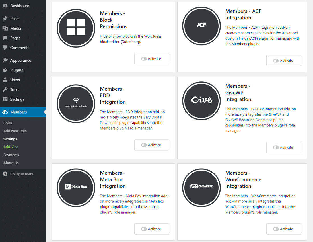 Members integrates with popular WordPress plugins
