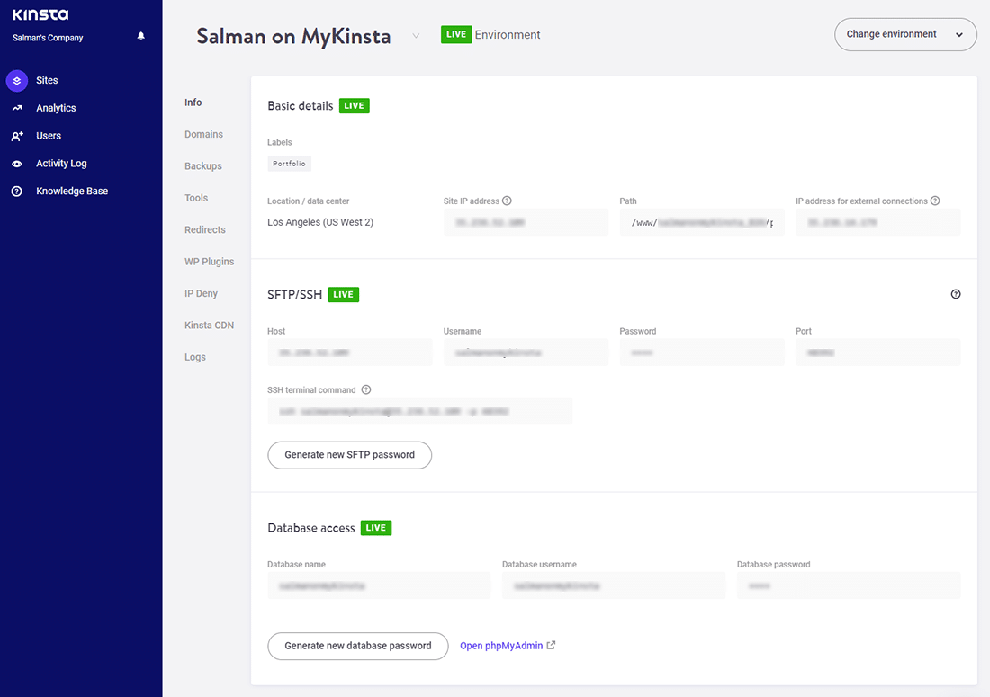 The 'Site Administrator' dashboard in MyKinsta