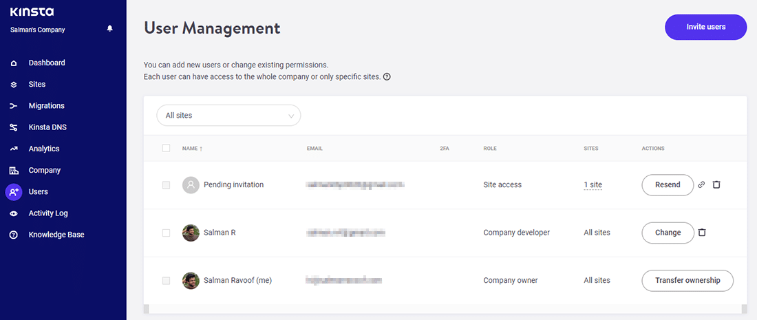 The 'User Management' screen in MyKinsta dashboard