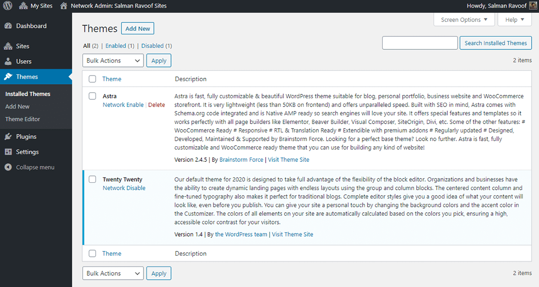 The 'Themes' panel in Network Admin dashboard