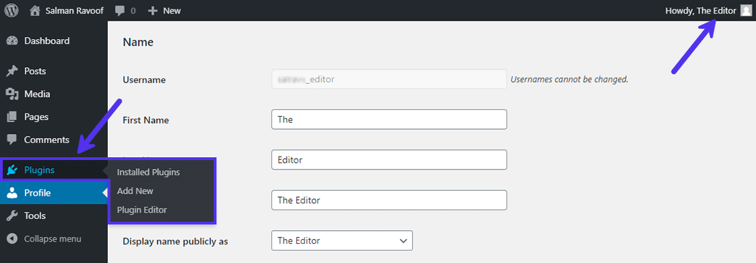 Editors can manage plugins after adding capabilities to their role