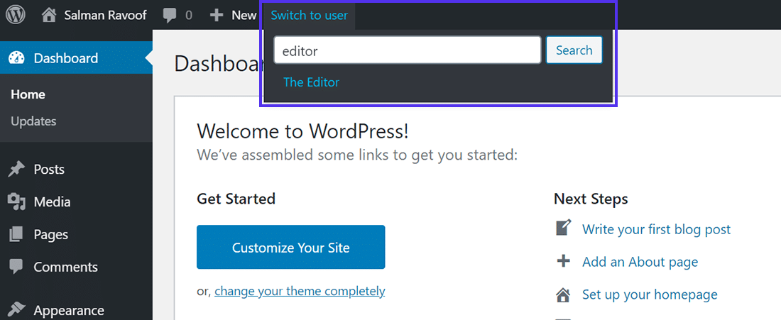 Switch to user link in WordPress admin bar
