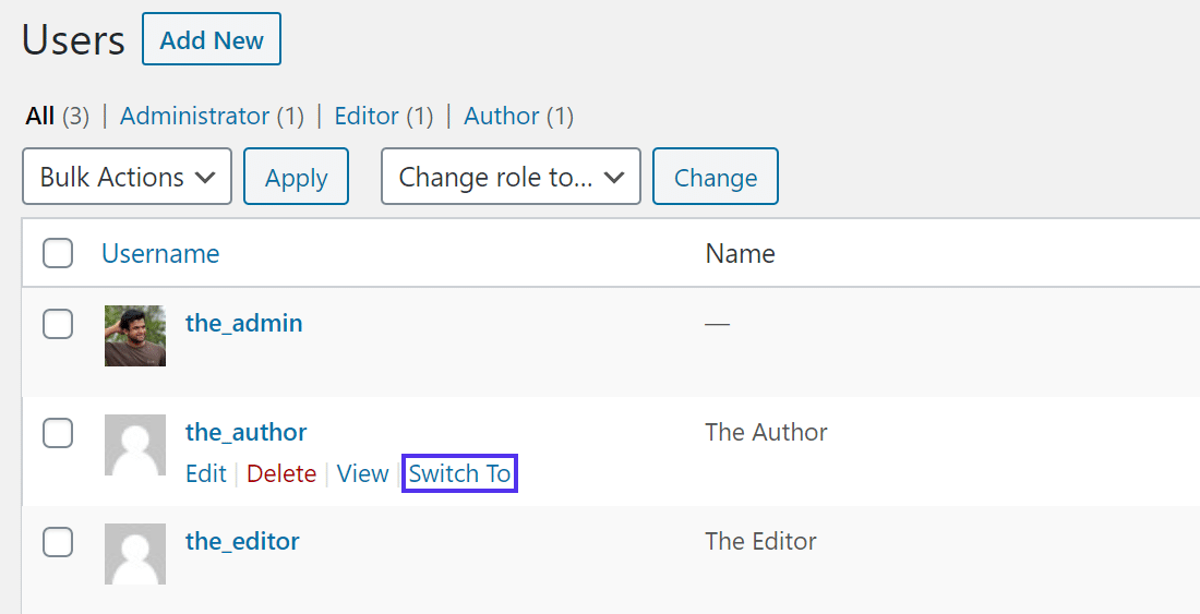 Click the 'Switch To' link to switch to the user you want