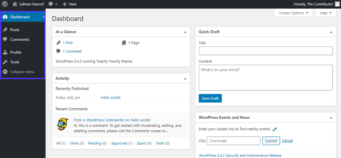 The 'Contributor' role dashboard in WordPress