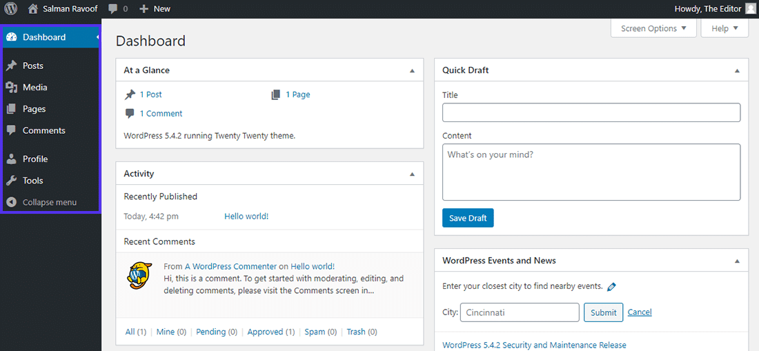 The 'Editor' role dashboard in WordPress