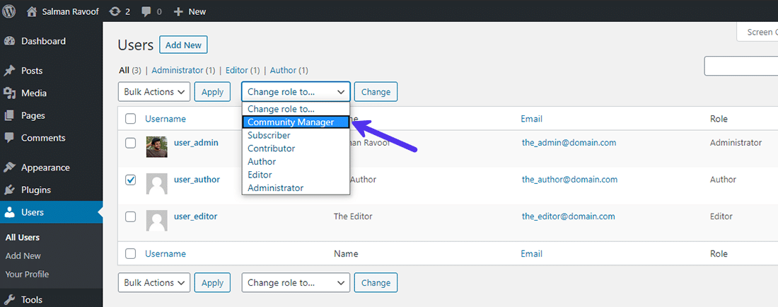 Assigning the custom user role to existing users