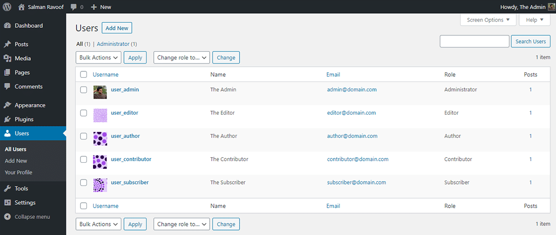 The 'Users' panel in WordPress admin dashboard