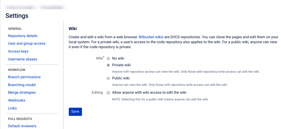 The wiki settings page in Bitbucket