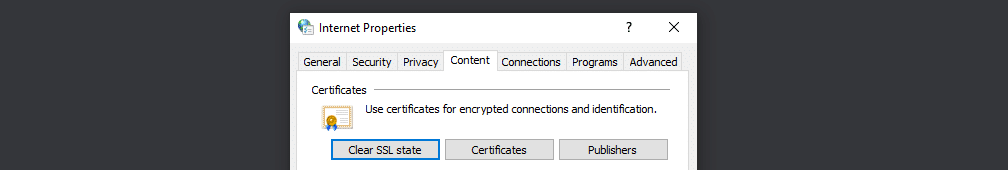 Clearing your SSL state in Windows
