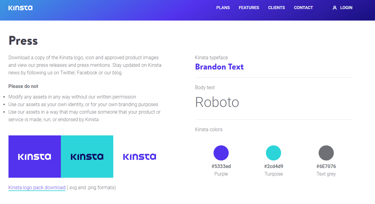 kinsta color scheme