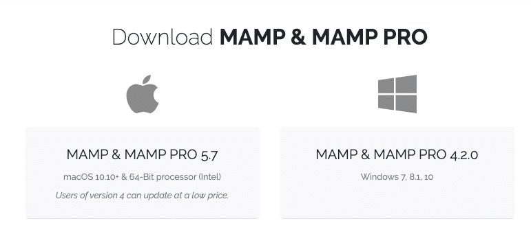 The MAMP download screen