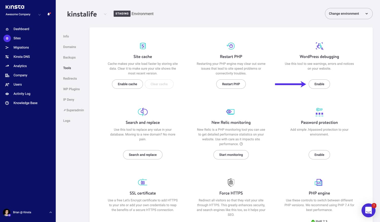 Enable WordPress debug mode in MyKinsta.