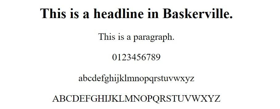 baskerville font - web safe fonts