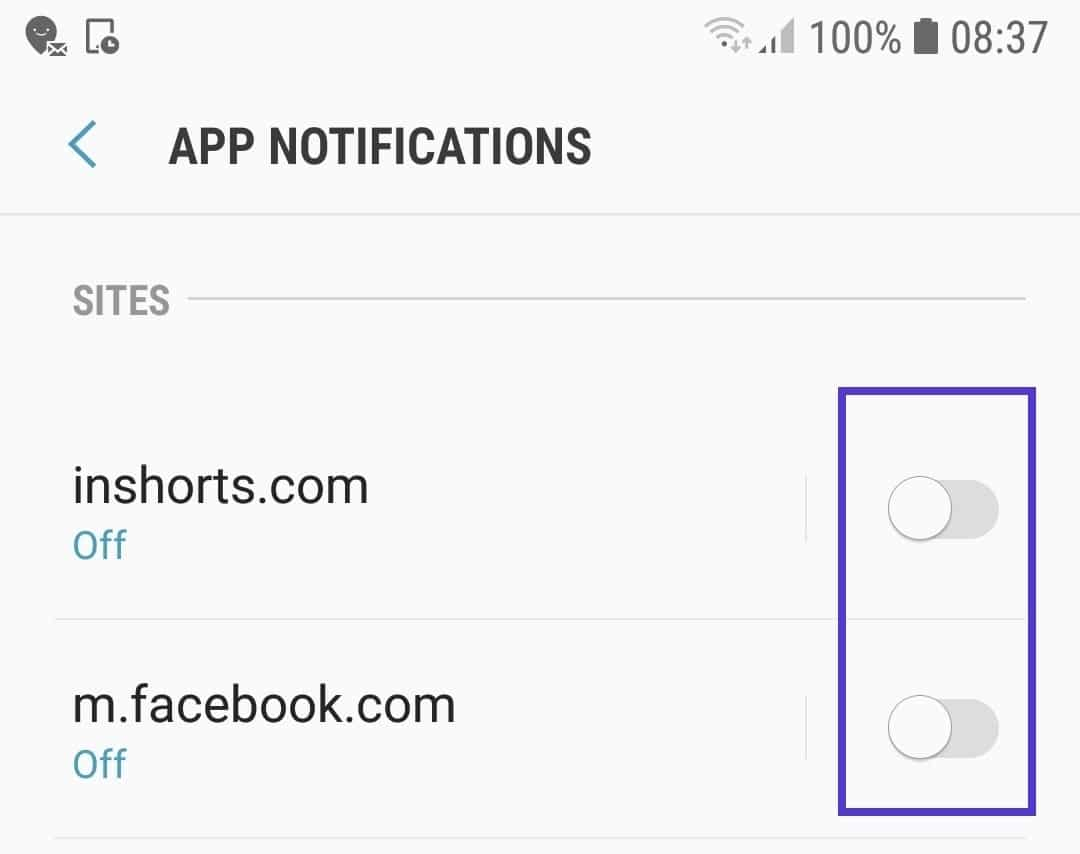 chrome mobile site notifications