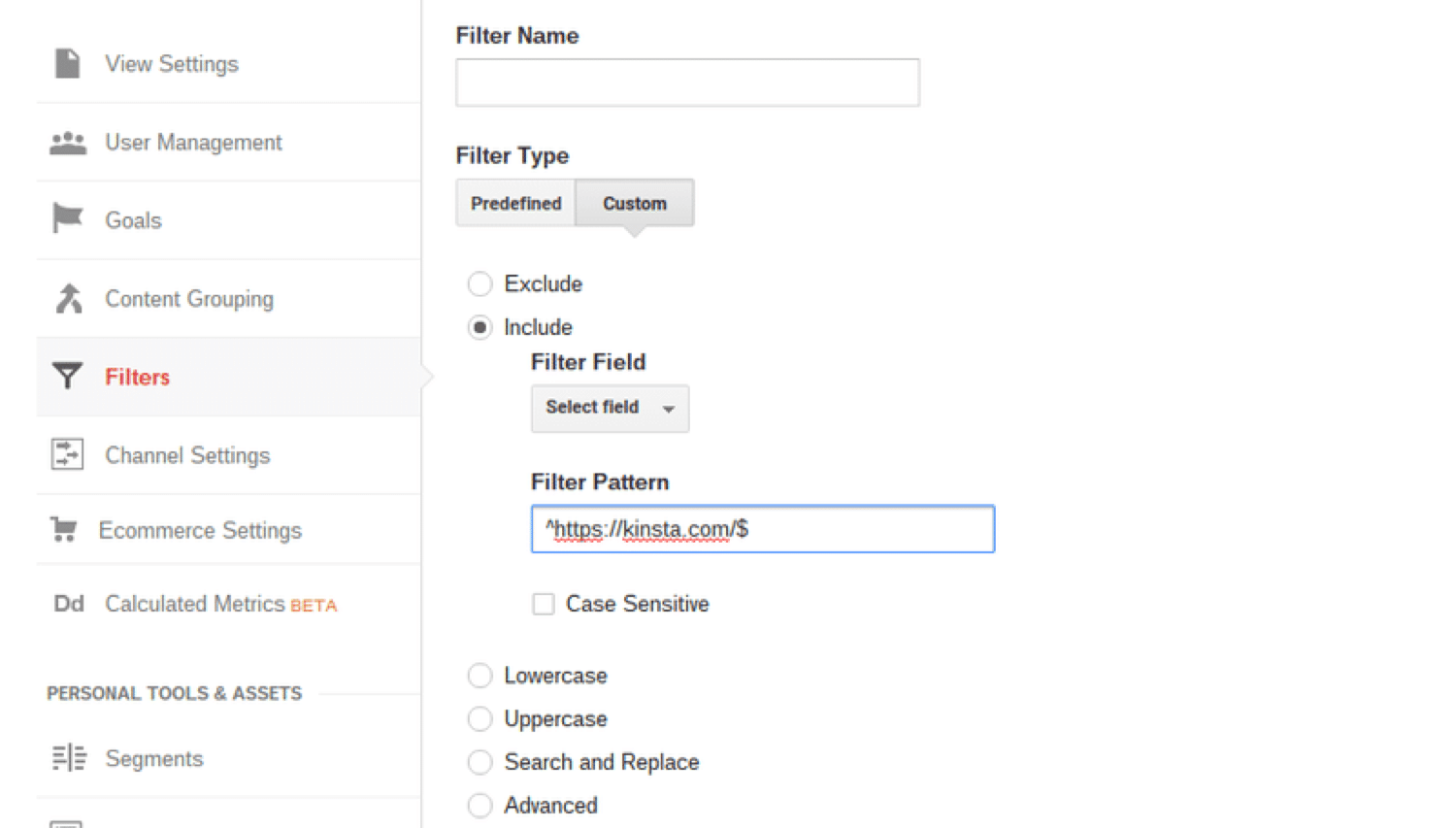 Adding a custom filter in Google Analytics
