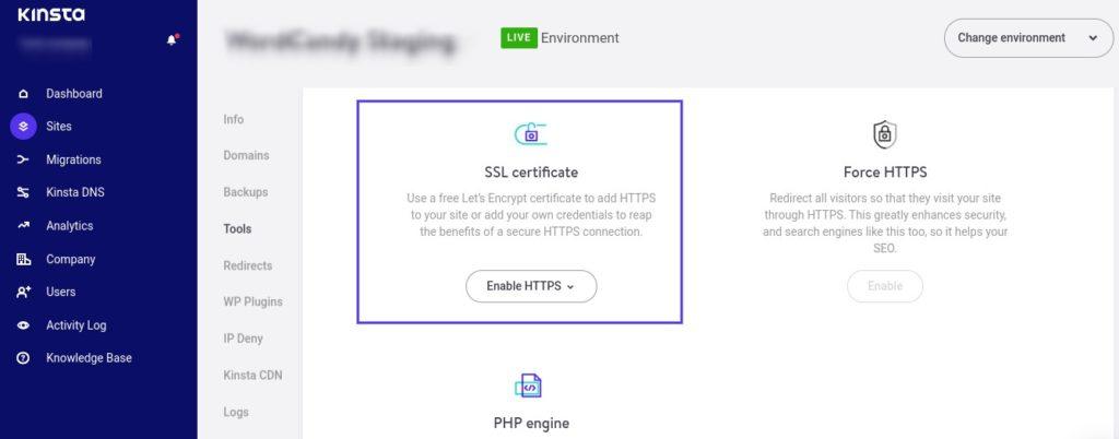 MyKinsta dashboard with SSL certificate selected