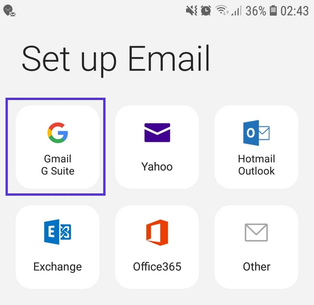Samsung Email – G Suite