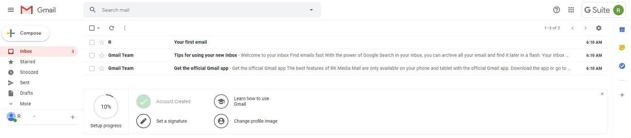 g suite gmail test email