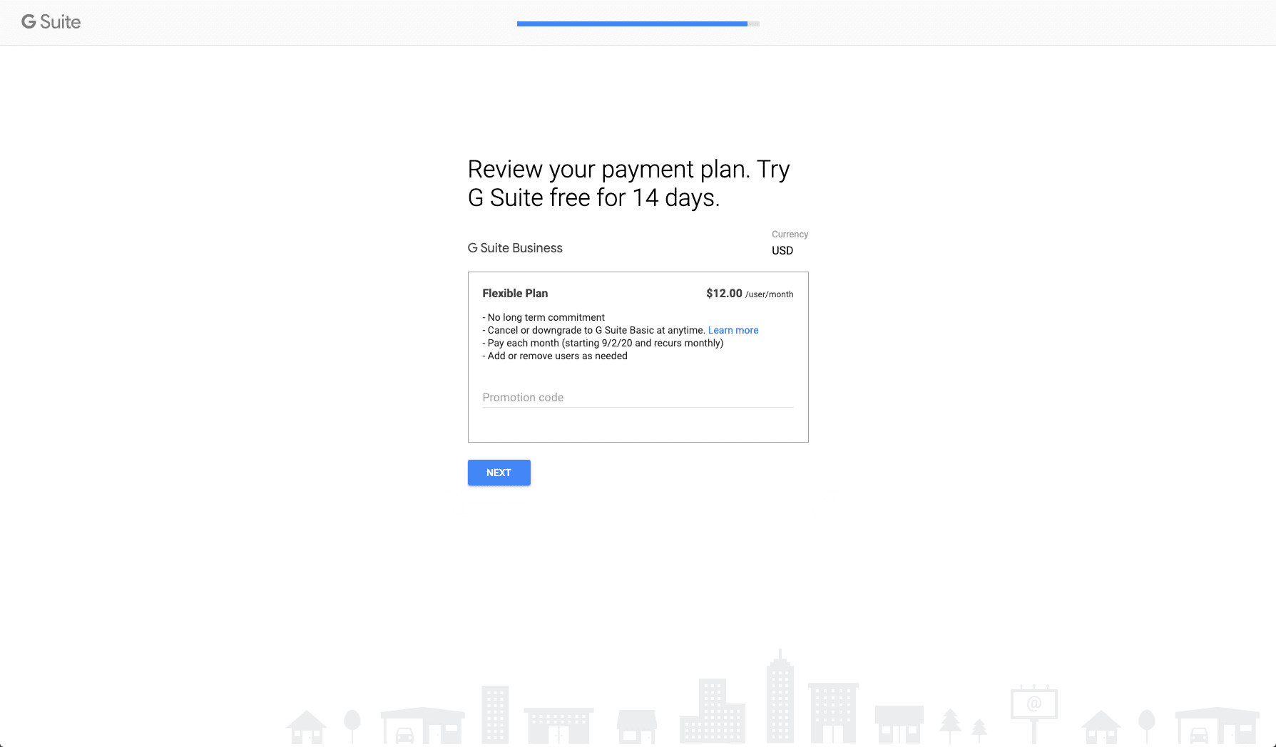 Reviewing payment plan on G Suite
