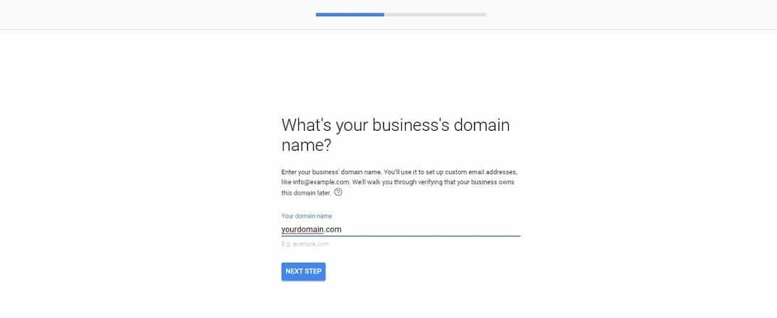 Google Workspace enter domain