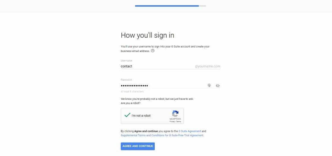 Google Workspace finalize signup domain
