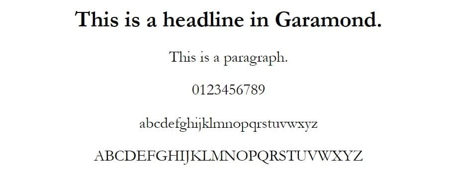 garamond font - web safe fonts