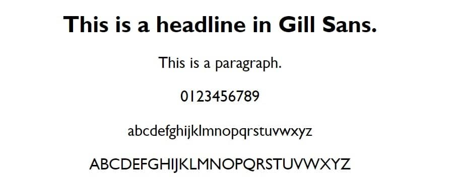 gill sans - web safe fonts