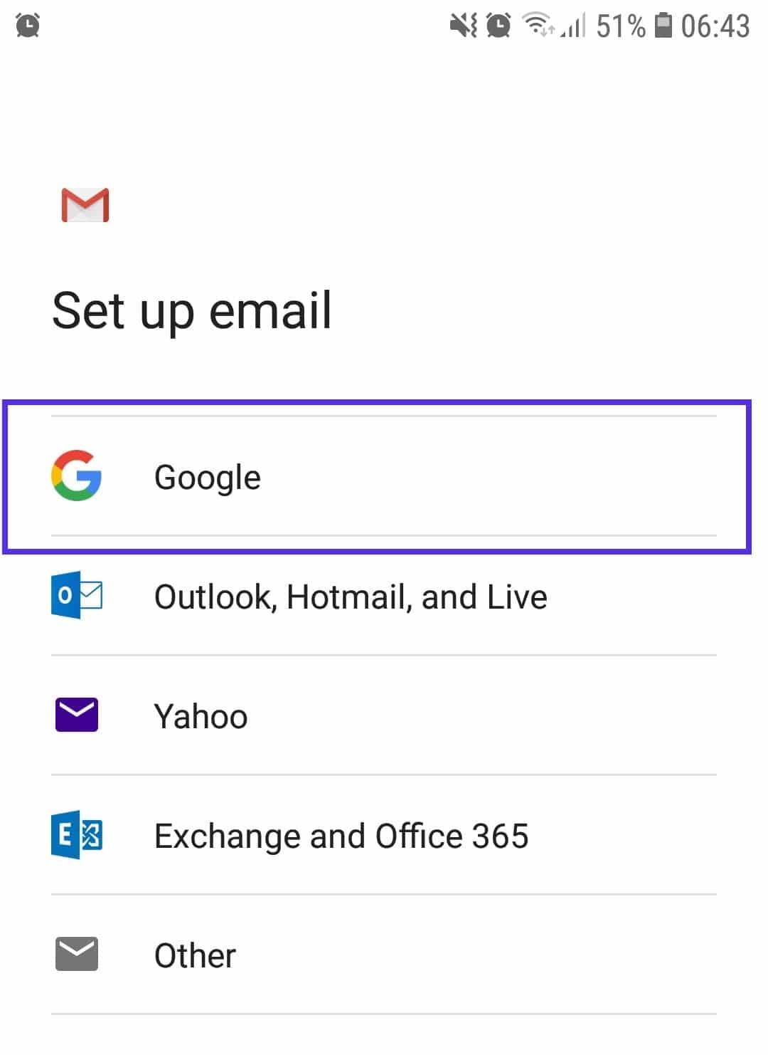 Gmailアプリのログイン画面