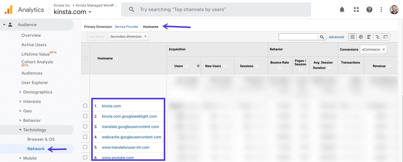 Googleアナリティクスでホスト名をプライマリディメンションに指定