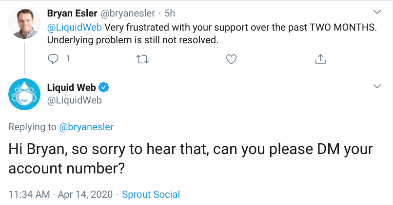 Tweet from LiquidWeb customer complaining about unresolved issues