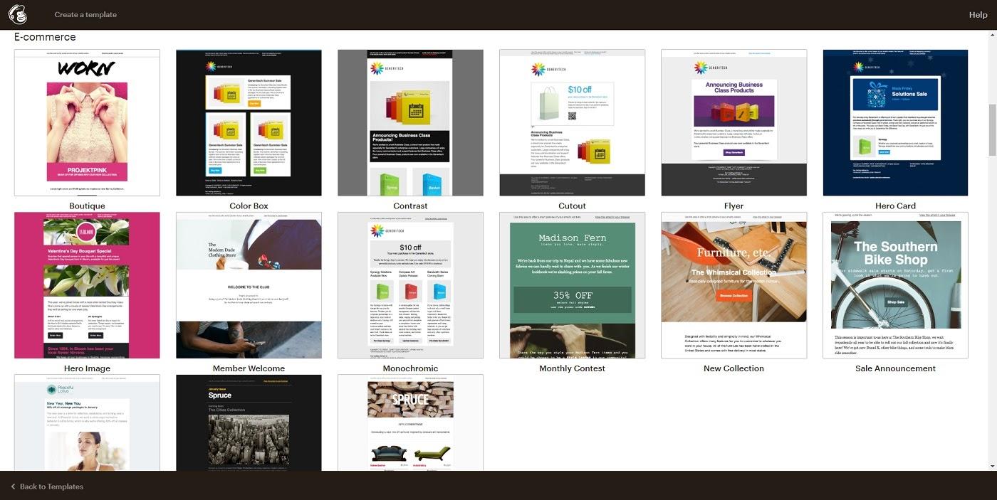 mailchimp ecommerce templates