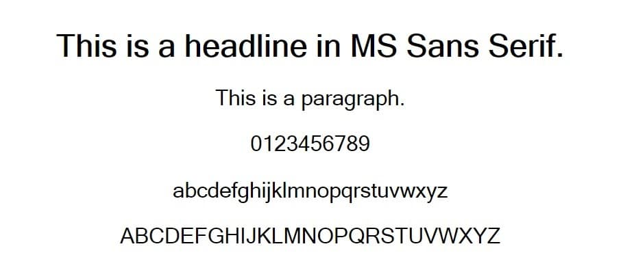 ms sans serif - web safe fonts