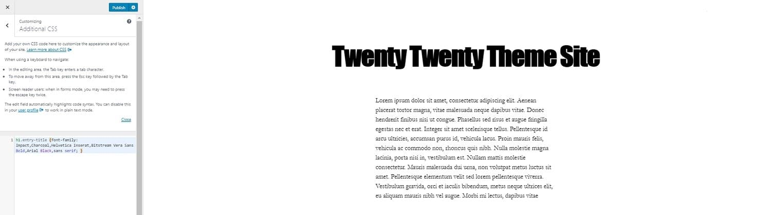 new font twenty twenty theme customizer