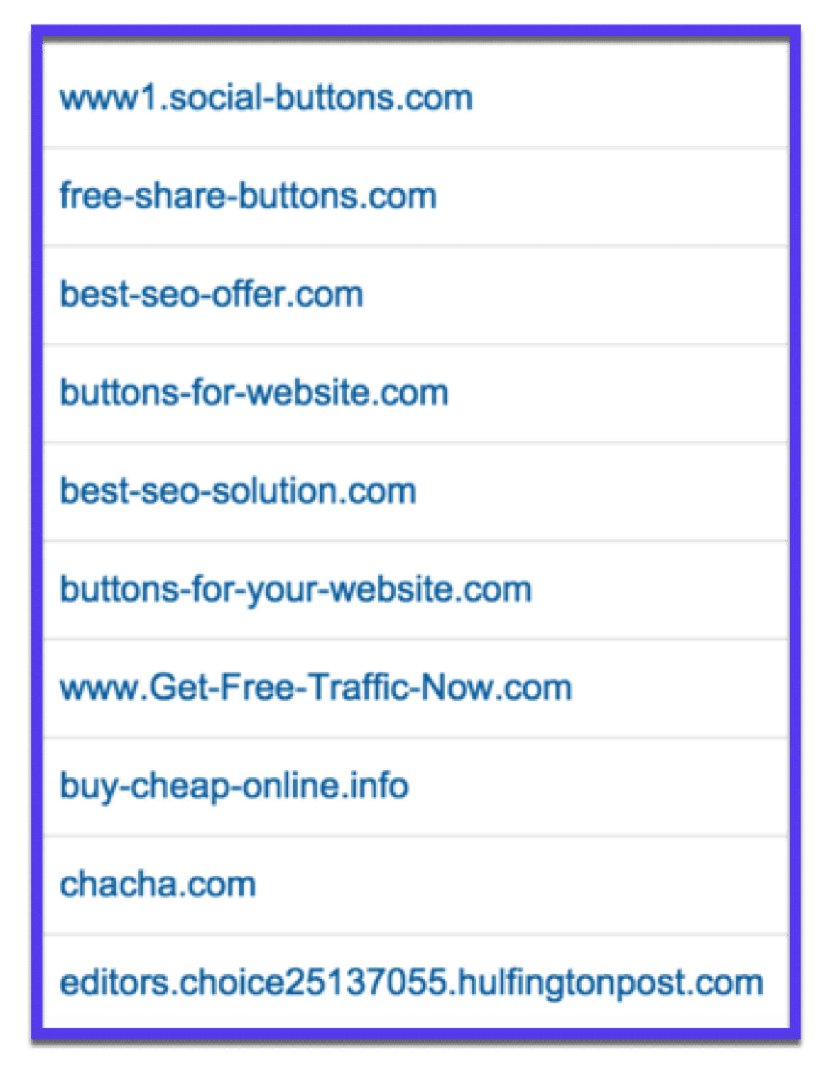 Even more spam sites in Google Analytics