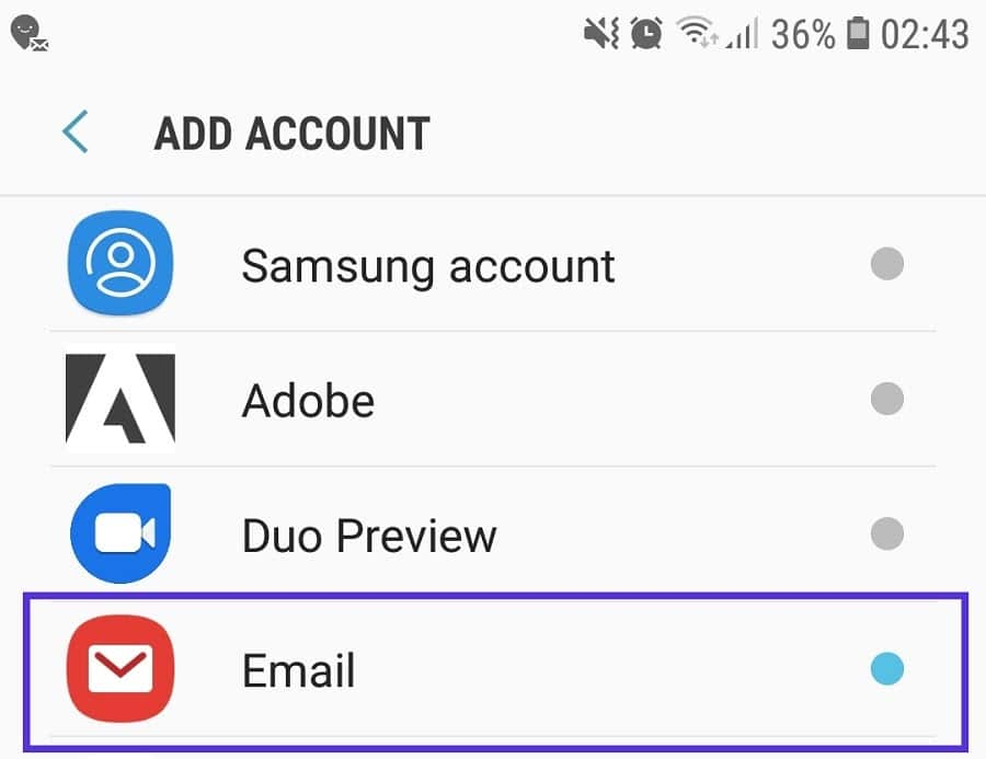 Samsung Email – add account