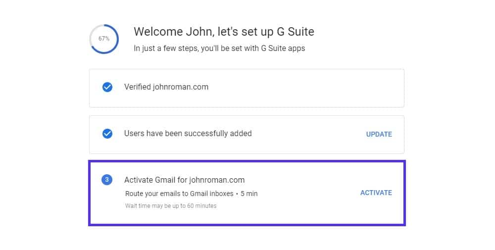 setup g suite account activate gmail