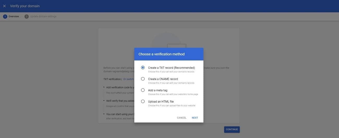 Google Workspaceの確認方法を選択