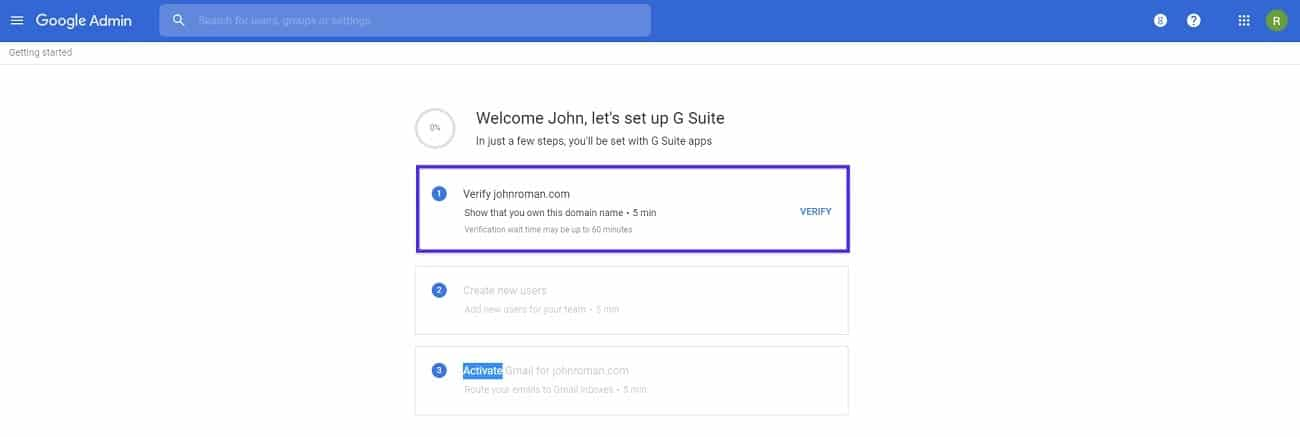 setup g suite account verify domain