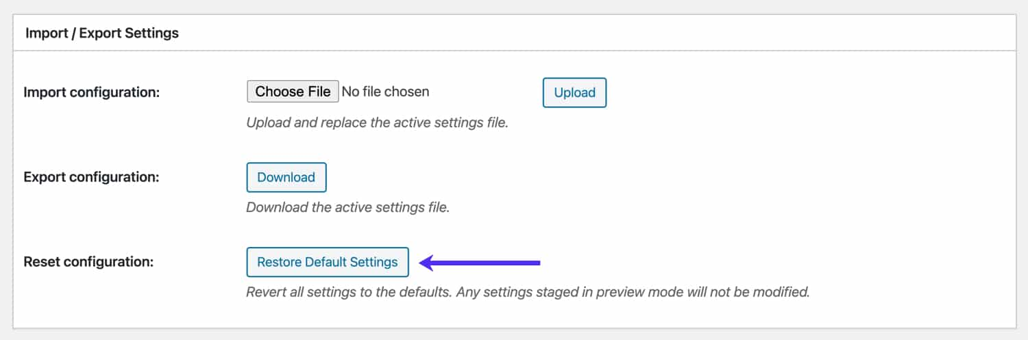 Reset W3 Total Cache to default settings