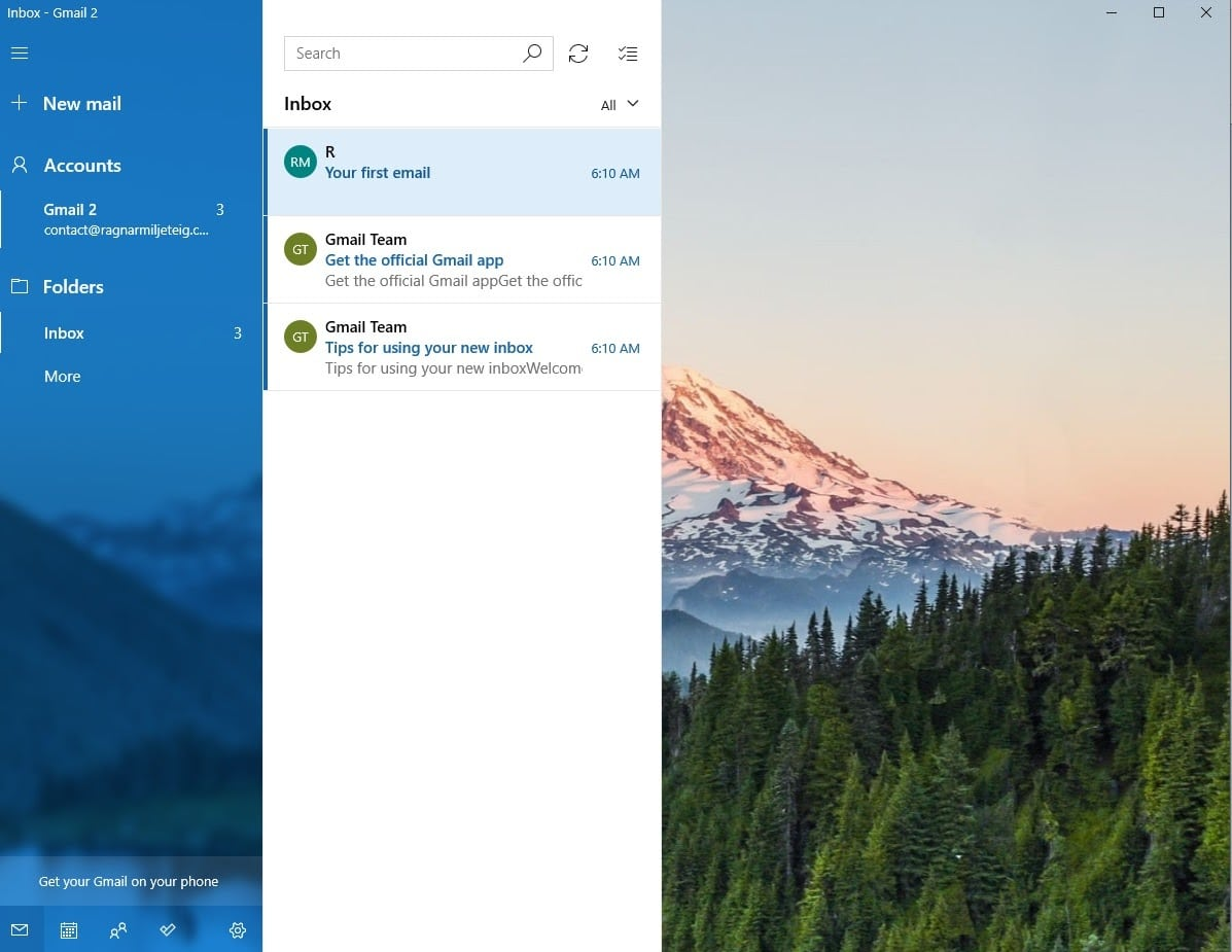 windows email app google setup