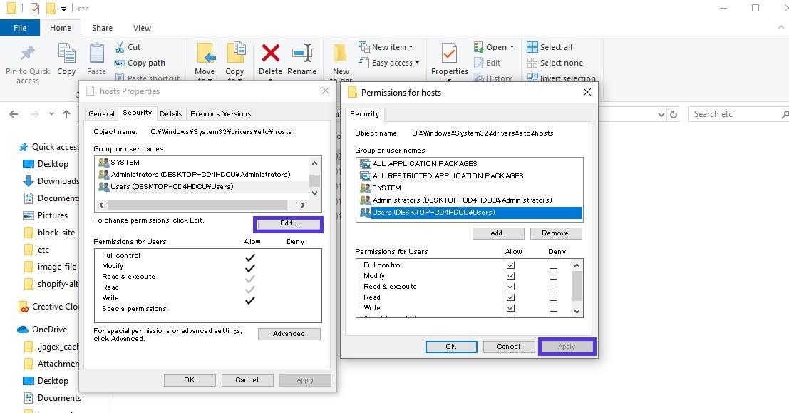 windows host file permissions